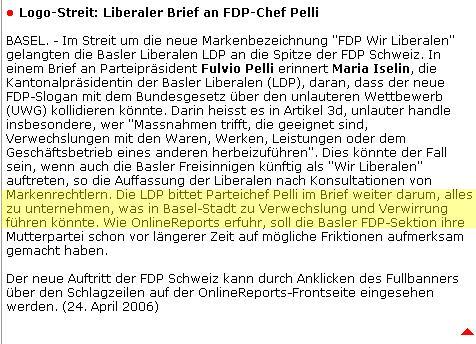Die LDP bittet Parteichef Pelli im Brief weiter darum, alles zu unternehmen, was in Basel-Stadt zu Verwechslung und Verwirrung führen könnte.