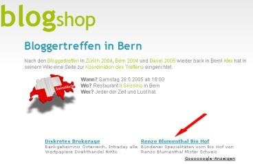 Google Ad für Renzo Blumenthals (Mr. Schweiz 2005) Bündnerfleisch vom Bio-Hof