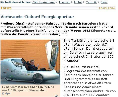 GMX: Auf seiner Fahrt von Berlin nach Barcelona hat ein mit Wasserstoffauto betriebenes Versuchsauto seinen ersten Rekord aufgestellt
